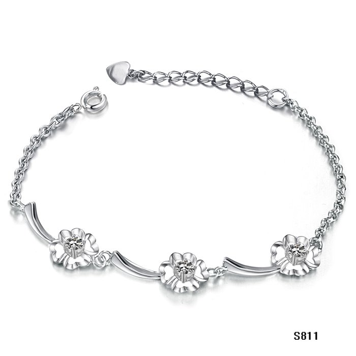 hot selling white gold plating braclet for lady charming jewelry sun flower diamond mixed color order accepted free shipping 811(China (Mainland))
