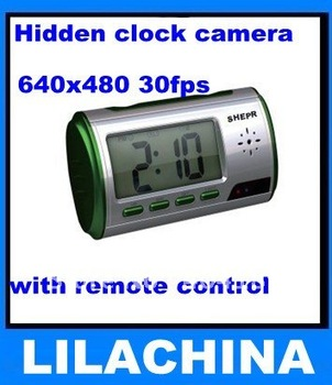 Hot selling EMS free shipping 8pcs 2.0MP CMOS Hidden Clock Camera DVR with remote control,Drop shipment accept