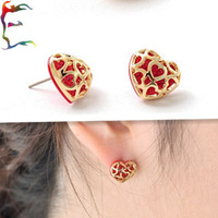 Wholesale 12pairs/lot fashion gold red hollow out heart stud earring flashing rhinestone party gift earring jewelry Free ship