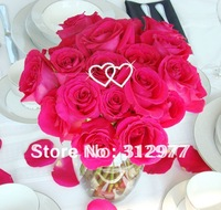 Free Shipping Wholesale 10pcs/lot Rhinestone Double Heart Bouquet Jewelry Silver