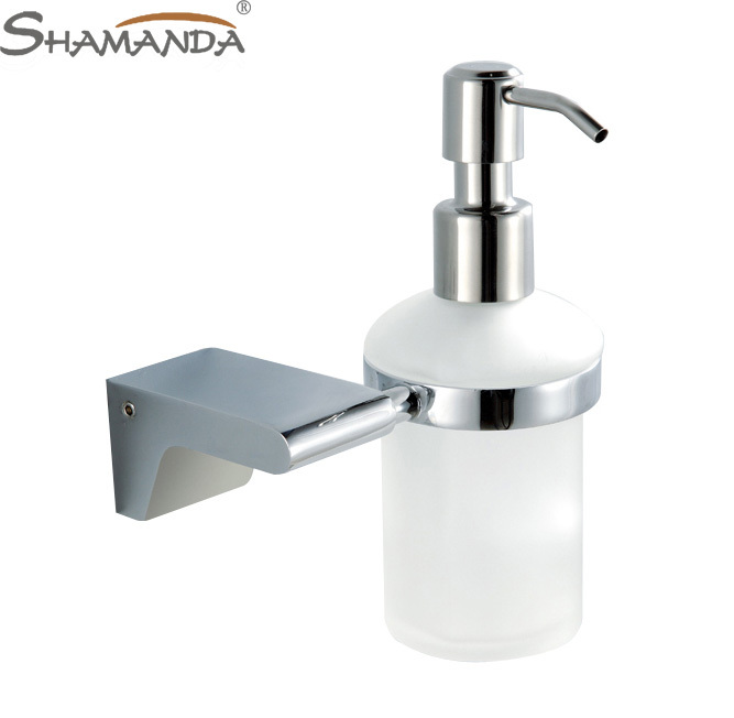 Free Shipping Soap Dispenser/Lotion Dispenser,Brass base with Chrome finish+Frosted glass container,Bathroom Hardware-97009(China (Mainland))