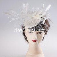 Bridal Birdcage veil hat, feather fascinator hair clip, Wedding party headpiece, cocktail hat