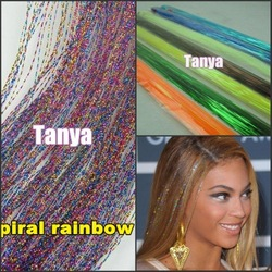 "Spiral Rainbow 28"" 300s/lot 1lot/package silk hair tinsel for hair extensions/flare strands/bling salon extensions(China (Mainland))"