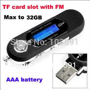 Free shipping AAA battery TF card slot supported USB Flash MP3 Player with FM Radio Record(China (Mainland))