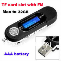 Free shipping AAA battery TF card slot supported USB Flash MP3 Player with FM Radio Record