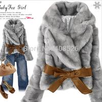 Hot Sale !Fashion Women Faux Fur Coat Rabbit Hair Short Warm Coat Jacket Fluffy Outwear with Belted Black, Gray, Apricot 30