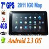 Free maps  android 7 inch GPS navigator  with wifi and digital TV  function