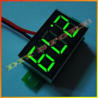 Wholesale 10pcs/lot Brand New DC 2.7V-30V Green Digital Voltage Panel Meter Voltmeter+Free shipping-10000325