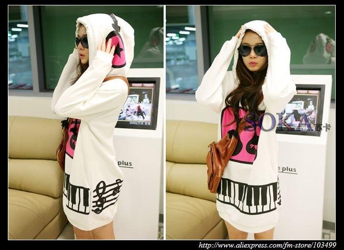 Женские толстовки и Кофты New Arrival Womens Long Sleeve Hoody Dress /ladies' hoodie-SK372