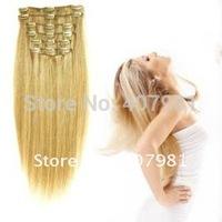 Hot Sale  Economic Single Set Human Clip In Hair Extension 15 16 18 20 Inch Black #1 #1b Brown #2 #4 #6 #8 7pcs 80g/set 1 set