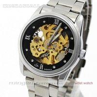 MINGEN SHOP - new Black Dial steel Strap women watch Automatic mechanical watch SHJ022-2 watch wholesale