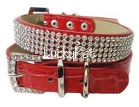 Clear crystal luxury leather rhinestone dog collar pet leash