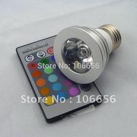 IR remote controller 16 color change high brightness 3W GU10 MR16 E27 RGB LED BULB LAMP