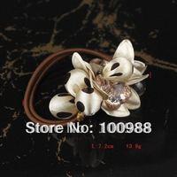 Free Shipping 12pcs/lot Brown Handmade Crystal Hair Ornament Stretchy Fashion  Wedding Hair Flowers HP0005