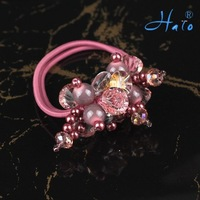 Free Shipping 12pcs/lot Pink Crystal Stretchy Fashion Bead Handmade Elastic Ponytail Holder diamante hair head jewelryr HP0009