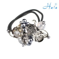Free Shipping 12pcs/lot Grey Color cute head piece jewelry Girl Elastic Rhinestone Ponytail Holder HP0025