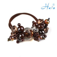 Free Shipping 12pcs/lot Handmade Beaded Charm Rhinestone Ponytail Fashion Elastic Hair Jewelry HP0026