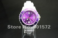 top fashion silicone watch 4.3cm size,white silicon band / 13color face/ring without logo,quartz movement,men/women,freeshipping