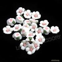 210pcs/lot,  White Ceramic Flower Stick-on Charm Embellishment Flower Ceramic Embellishments Fit Scrapbooking 10x10x3mm 250195