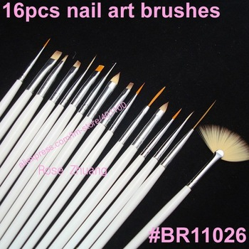 Freeshipping-100SETS/LOT 16pcs Nail Art Design Brushes Gel Set Painting Draw Pen Polish white Handle wholesales SKU:G0022X