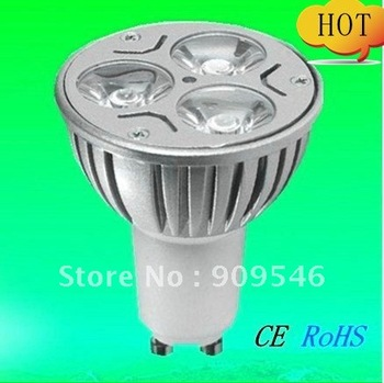 Free shipping 10pcs/lot Warm /cool white dimmable  wholesale aluminum GU10 3*3w 9w Cree led Light