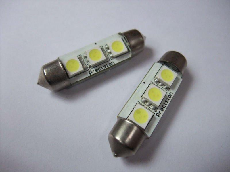 Wholesale 50pcs/lot LED Festoon Dome Car Bulb 211 212 12V white 39mm 3SMD 5050 cusbus Car dome light(China (Mainland))