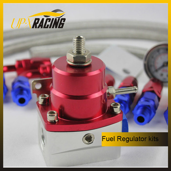 Hight quality universal fuel pressure regulator with viton diaphragm an6 stainless braided hose