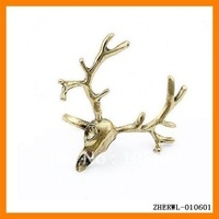 Fashion Jewelry New Ring Deer Skull Rings Unique Big Deer Ring Free Shipping 24 pcs/lot ZHERWL-010601