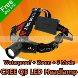 Headlamp ! LED Headlight With 18650 Battery CREE Q5 LED Zoom 3 Modes Waterproof Anti-corrosion ! Free Shipping !(China (Mainland))