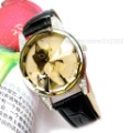 Hot sale lady fashion watch,black cat wrist watch with crystal,leather band dress watch for ladies black white and red free ship