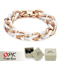 OPK FINE JEWELRY Top Quality White ceramic Bracelet for men/ women Fashion Vogue Jewelry Elegant Rose/ yellow gold plated, 403