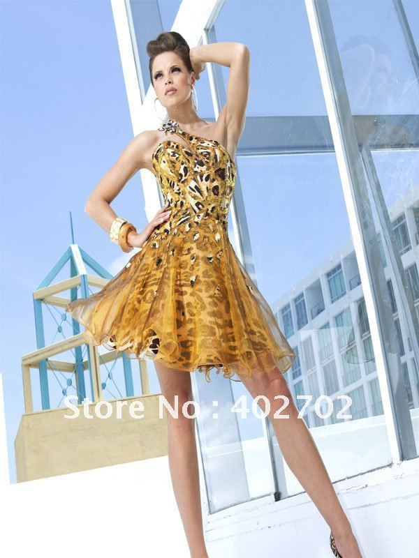 New years eve hot Sexy Short One-shoulder Beaded Gold Organza Prom Dress(China (Mainland))