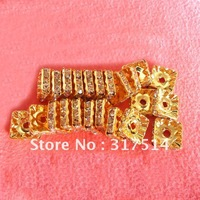 10mm Gold  Rhinestone Square  Rondelle Beads Spacers