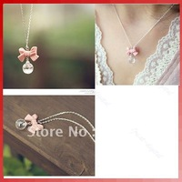 New Fashion Jewelry Lady Girl Bowknot Beads Pendant Necklace Chain Pink 7Pcs/Lot