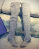 Brand Designer Autumn Winter SW5050 Genuine Suede Women Over the Knee Gray 9CM High Heels Stretch Boots Shoes SW 5050