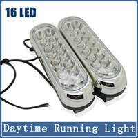 2x DRL16 LED Car Lamps SMD 5050 Super Bright Headlights Auto Lights HID Xenon Packing Daytime Running Light Fog Bulbs Styling
