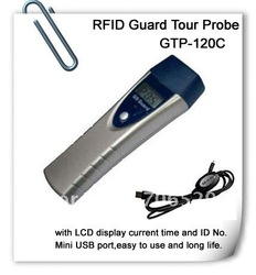 Waterproof and shakeproof RFID Guard Tour Probe with LCD display current time and ID No(China (Mainland))