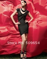 FREE SHIPPING Hl Bandage Evening Dress Fashion Homecoming Party Dress Bandage Celebrity Dress Black Sequined