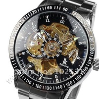 New ! Luxury IK Brand Stainless Steel Black & Gold skeleton Dial Automatic Mechanical Mens Hand Watch