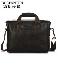 100% Genuine leather men business handbag,leather men briefcase+Wholesale&Retail+Free Shipping colour:black/brown