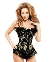 Free shipping!! Black & Gold Floral Tapestry Corset With G-string 8925