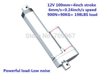 900N=90KG load 6mm/sec speed 100mm=4 inches stroke 12V 24V DC mini electric linear actuator linear tubular motor motion