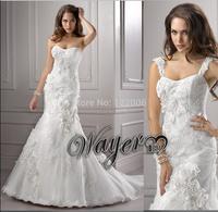 Elegant Designs vestido de noiva Scoop Handwork Flowers on Lace Appliqued Tulle Mermaid Wedding Dresses Sweep train HL-WD2606