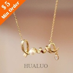 Free Shipping Min.order is $15 (mix order)Cheap Chic LOVE Word Necklace Alloy Love Necklace(China (Mainland))