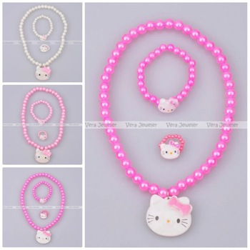 Plastic Pearl Baby Jewelry Cheap Child Jewellery Sets Hello Kitty Bead Necklace Bracelet Ring Sets Wholesale 24sets/lot FKJ0034