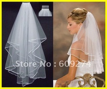 Hot Sale 2012 In Stock Two Layers White Ivory Veils Tulle Pearl Ribbon Edge Comb Wedding Veil Bridal Accessory(China (Mainland))