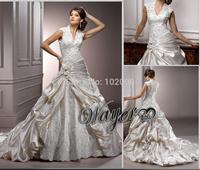 Fashion Vintage Cap Sleeve V-neck Lace Appliques Satin A-line Pick Up Skirt Bridal Wedding Dresses vestido de noiva HL-WD2663