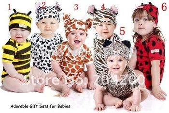 8 sets/lot-Zebra Short Sleeve Cartoon Animal Infant Clothing set/Pajamas/Infant&Toddler Clothing sets/Baby modeling Rompers