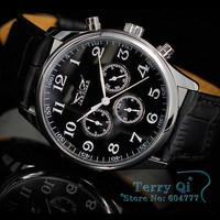 JARAGAR   Men Black Automatic Watch 6 Hands Week/Date/24H Mechanical Wristwatch Gift