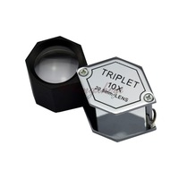 10X Hexagonal Jewerly Diamond Triplet Loupe w 20.5mm Top Quality Achromatic-Aplanatic Optical Lens, Gem Magnifier w Leather Case